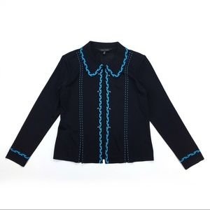 Ming Wang Black & Blue Cardigan